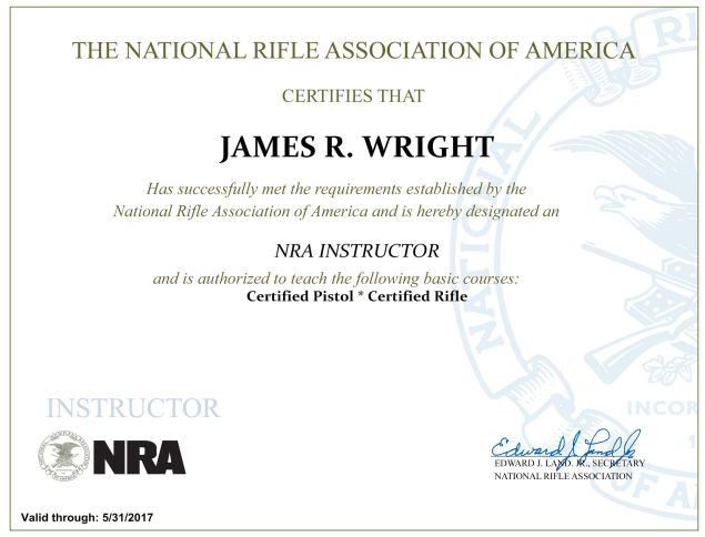 James Wright NRA Certifications